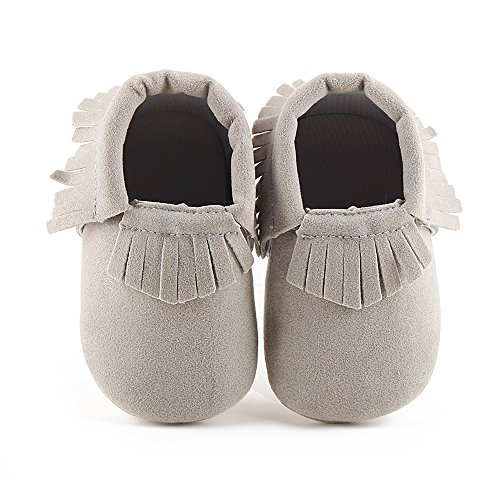 Delebao Unisex Baby Soft Sole Tassels Crib Shoes Moccasins Loafers (12-18 Months, Grey)