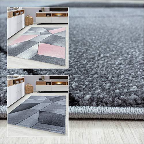 Ayyildiz Wunderschöne Beta Teppich Moderner Designer, rechteckig 11 mm, Kurzflor, Farbe:Pink, Größe:200 x 290 cm
