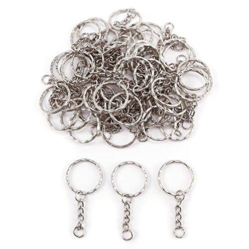 TOOGOO 50x Anneau 25mm pour Porte-cles Porte clefs Chaine 30mm Metal Argente Bijoux DIY