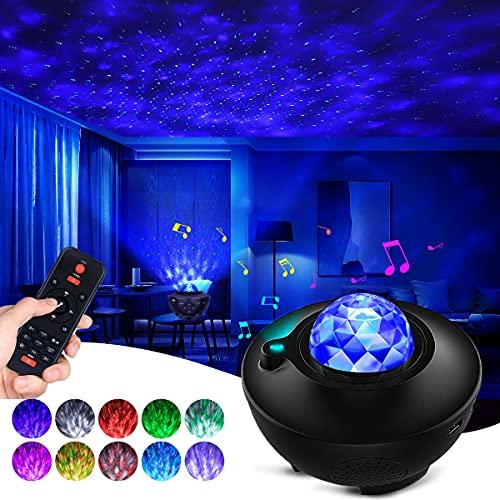 Proyector LED Galaxy de cielo estrellado, luz nocturna con altavoz musical Bluetooth y mando a distancia, aplicación inteligente. Trabaja con Alexa para el techo del dormitorio para niños, adultos