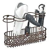 mDesign Soporte para secador de pelo para fijar en la pared – Estante de baño para guardar secador, rizador y plancha...