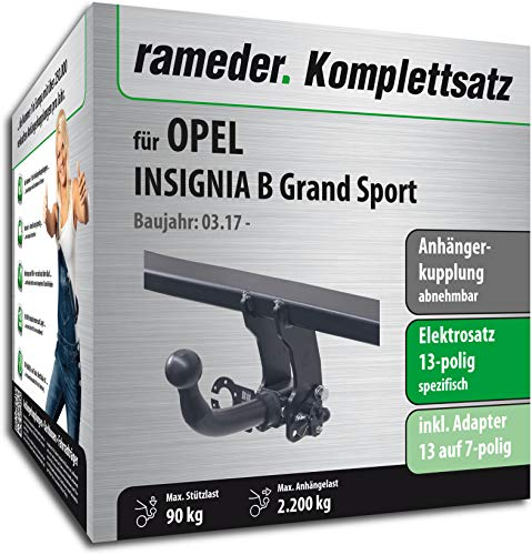 Rameder Komplettsatz, Anhängerkupplung abnehmbar + 13pol Elektrik für OPEL Insignia B Grand Sport (152671-37800-1)