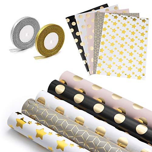 WolinTek Lot de 5 Papier Cadeau et 2 Rouleaux de Ruban, Papier d'emballage d'or pour Anniversaire, Vacances, Mariage, Cadeau de Naissance (5 Désign, 70 x 50 cm) (01)