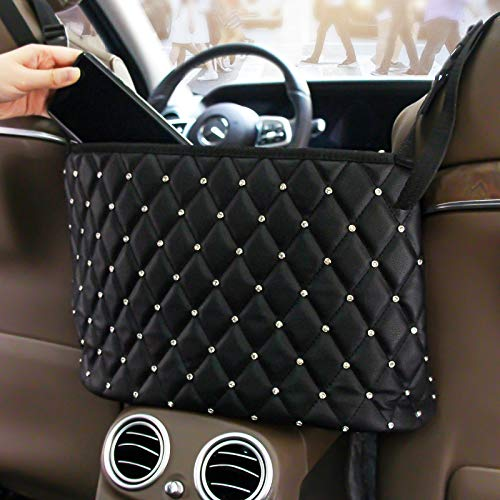 JESTOP Car Back Seat Organizer, Leather Car Handbag Holder, Large Capacity Seat Back Net Storage with pocket for Large Bag, Phone, Wallet, Purse, Dog Barrier for Car