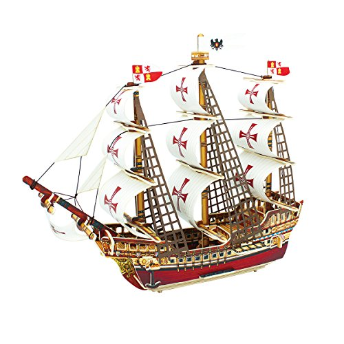 ROBOTIME 3D Puzzle Woodcraft DIY Model Ship Santa Maria Wooden Craft Kit Best Birthday Gifts for Boyfriend and Girlfriend