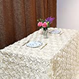 Fanqisi Ivory Rosette Tablecloth Wedding Decoration 50x80Inch Rosette Satin Tablecloth 3D Flower Table Cloth for Wedding Baby Shower Home Party Cake Table Decoration