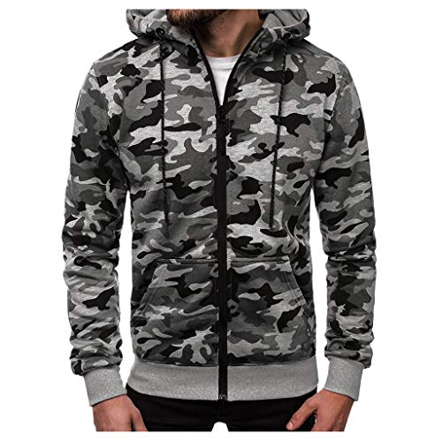 LILICAT Winterjacke Herren Kapuzenjacke Camouflage Jacke Hoodie Sweatjacke Männer Zipper Hoody Pullover mit Reißverschluss Winter Freizeit Kapuzenpullover Mäntel