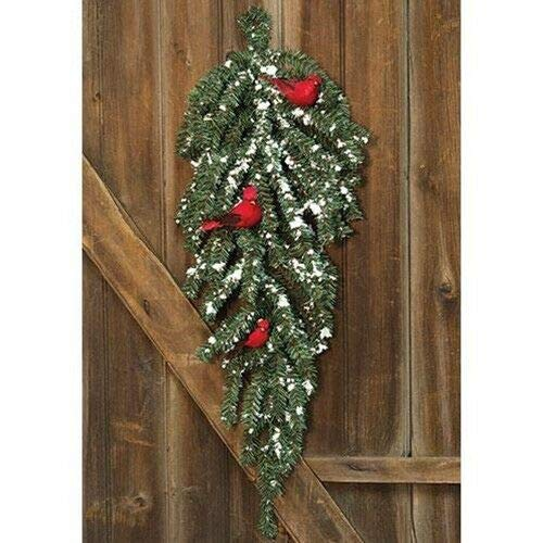 TAKAZOON Floral Décor Supplies for New Primitive Christmas Snow Pine RED Cardinal Teardrop Wreath Door Swag for Fireplace Décor, Home Xmas Decoration Indoor/Outdoor Decorations