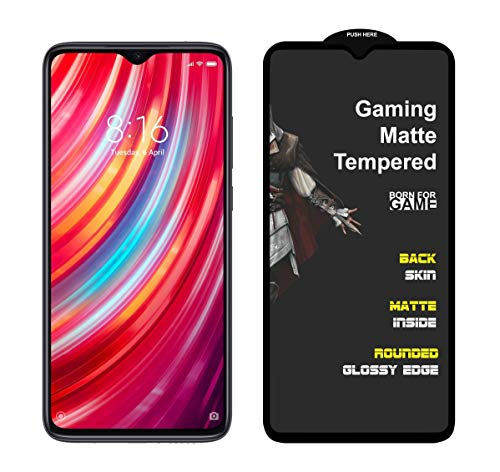 MEDULLA Edge to Edge (Black) Hybrid Matte Tempered Glass Gaming Screen Protector for Redmi Note 8 PRO
