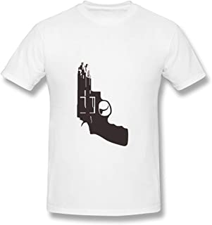 Senzioods-Fashion Men's The Sopranos Fit T Shirt White with Casual Short Sleeves