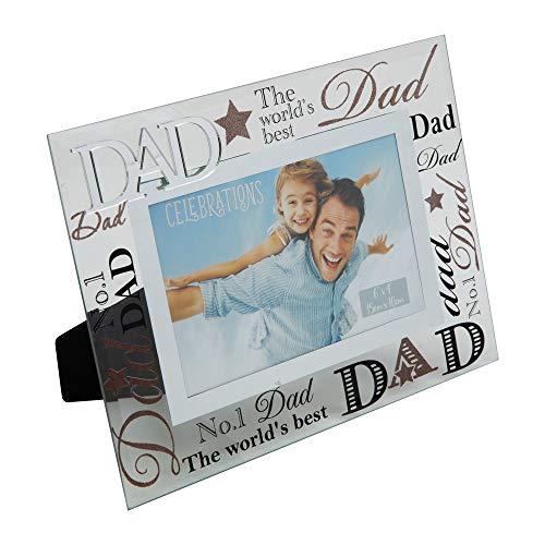 """Juliana, cornice portafoto con scritta """"Dad"""" (papà) a specchio, ideale come regalo per un papà speciale"""