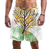 ATOMO Pantalones cortos de baño para hombre, diseño de árbol de crecer a partir del gato, estilo informal, para surf, playa, secado rápido