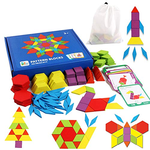 Educational Toys for 3-8 Year Old Boys, Wooden Pattern Blocks Puzzles for...