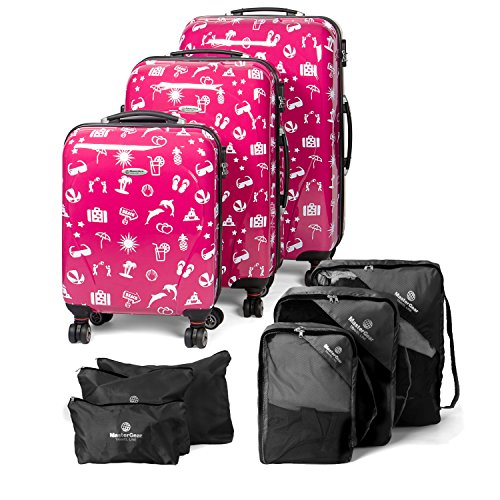 MasterGear Hartschalenkoffer mit Motiv | Design Koffer,Rosa (Pink Paradise), 3er Set + 6 Kleidertaschen