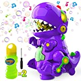 WisToyz Bubble Machine Dinosaur Bubble Blower, Walk & Stay Still Two Settings, Music & Light, Bump N Go Feature, Toddler...