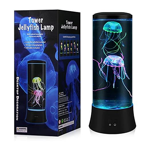 MELOKI Jellyfish Lava Lamp, LED Night Light with 7 Color Changing for Home Office Trippy Room Decor Gift for Adult Teens Kids Boys and Girls Birthday Christmas New Year