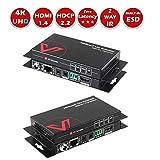 UltraHD HDMI Extender Verlängerung HDBaseT, Zwei Wege PoE&IR Fernbedienung, Nonkomprimiert 4Kx2K@60Hz/30Hz über Einzige CAT5e/6/7, HDCP2.2/1.4, Sender/Empfänger, RS232, HDR, 70M 1080P, 40M 4K