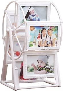 MLADEN Retro Vintage Family Photo Frame DIY Ferris Wheel Rotatable Windmill Picture Frames 5x3.5 inch Home Decor Gift Nostalgic Style (White)