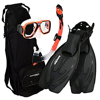 Deep Blue Gear - Adult Diving Snorkel Set (Explorer) with Maui Mask/Ultra Dry 2 Snorkel/Adjustable Small-Medium Fins/Backpack