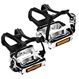 VIEWALL Bike Pedals Toe Cages - 9/16' Spin Bike Pedal with Straps and Toe Clips...