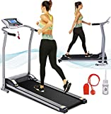 Electric Folding Treadmill for Home with LCD Monitor,Pulse Grip and Safe Key Fitness Motorized Running Jogging Walking Exercise Machine Space Saving for Home Gym Office Easy Assembly (Silver Gray)