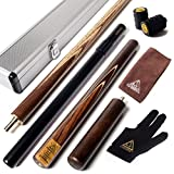 CUESOUL 57 inch Handcraft 3/4 Jointed Snooker Cue with Mini Butt End Extension Packed in Aluminium Cue Case D306