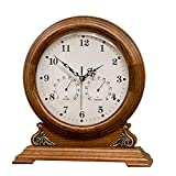 Sooiy Retro/Vintage/Viejo Exquisita Madera Chimenea Reloj silencioso Mantel de Pantalla del Reloj de Temperatura Humedad Fuente de alimentación de la batería (Color Profundo) Relojes de Chimenea