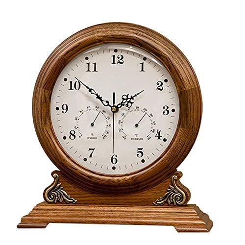 Sooiy Retro/Vintage/Alt Exquisite Holz Kamin Clock Silent-Kaminuhr Anzeige Temperatur und Luftfeuchtigkeit Batteriestromversorgung (Farbe: Deep Color) kaminuhren