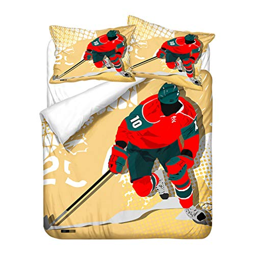 Bedding set Winter 3D Snow Ice Hockey Ski Adventure Cool Wild Duvet cover Boy Blue White Yellow Red Microfiber Zippered (Yellow Red,200x200 cm)