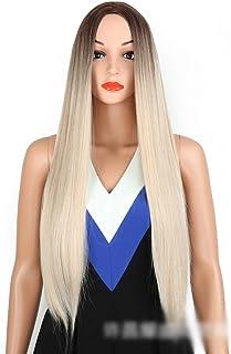 BOBIDYEE 女性のための長いストレートヘッドを探している女性の金髪ストレートウィッグ耐熱ナチュラルファッションパーティードレスウィッグ (Color : Blonde)