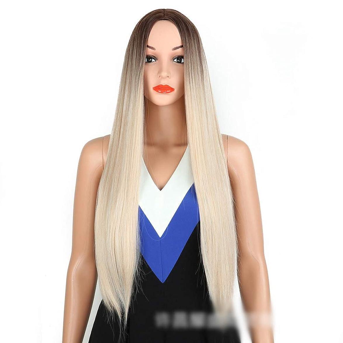 寝具次マティスかつら 女性のための長いストレートヘッドを探している女性の金髪ストレートウィッグ耐熱ナチュラルファッションパーティードレスウィッグ (色 : Blonde)