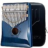 Moozica 17 teclas Kalimba piano de pulgar, Madera de caoba sólida profesional Marimba Mbira con acabado de laca de piano Instrumento musical Regalo (caoba-K17MBP)