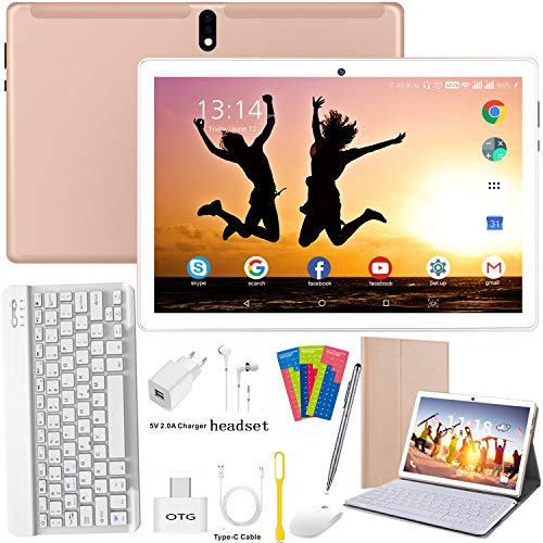 Tablet 10 Pulgadas 4G/WiFi Android 9.0 Pie Ultrar-Rápido Tablets 4GB RAM + 64GB ROM/256GB Escalable | Laptop Convertible de Oficina | Dual SIM - 8000mA Bluetooth GPS Type-C (5+8.0MP Cámara) (Oro)