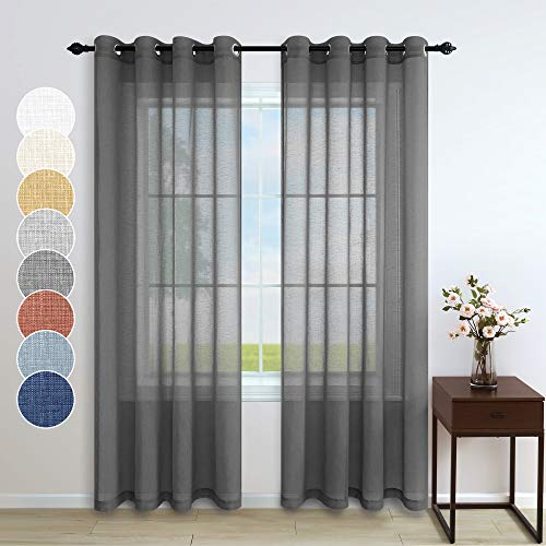 Dark Grey Sheer Curtains 96 Inches Long for Living Room Decor 2 Panels Grommet Faux Linen Semi Privacy Floor Length Masculine Curtains for Bedroom Dining Room Window Drapes 52x96 Length Charcoal Gray