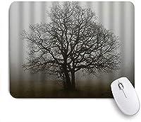 KAPANOU マウスパッド、葉のない木がかすんでいる天気のプリントと霧の霧の風景 おしゃれ 耐久性が良い 滑り止めゴム底 ゲーミングなど適用 マウス 用ノートブックコンピュータマウスマット