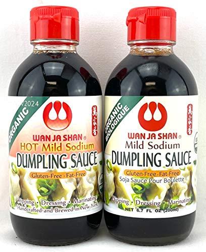 Wan Ja Shan Organic Dumpling Sauce 6.7 Oz ,GLUTEN FREE, FAT FREE, MILD SODIUM Great for Dumpling Dipping-Gyoza Dipping, MADE IN USA , Hot & Regular Variety Pack of 2