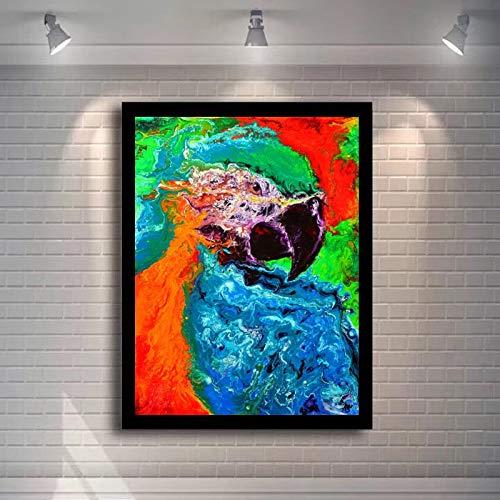 wZUN Cartel de Arte de Pared Pintura al óleo Animal Cuadro de Pared sobre Lienzo Cuadro de Loro de Acuarela Abstracta para decoración de Sala de Estar 80x100cm