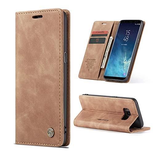 yanzi Handyhülle für Samsung Galaxy S8 Hülle Hülle Premium Leder PU Flip Samsung Galaxy S8 Tasche Braun Wallet Lederhülle Klapphülle Magnetisch Silikon Bumper Schutzhülle Samsung S8 Hülle
