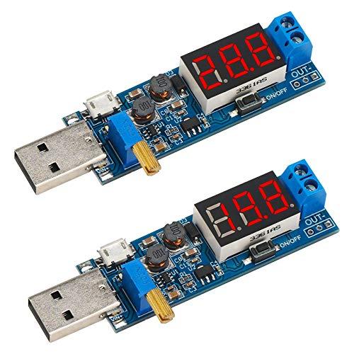 USB-Eingangswandlerplatine, KYYKA 2-teiliges Buck-Boost-Spannungsreglermodul DC 3,5-12 V bis DC 1,2-24 V Spannungsversorgung Step Up Down Volt-Transformatorplatine