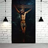 HCHD Die Kreuzigung HD Drucke Jesus Christus-Ölgemälde auf Leinwand-Kunst-Ausgangsdekor-Wand-Kunst-Malerei Bild Leinwand-Malerei-Druck (Size (Inch) : 60x120cm)