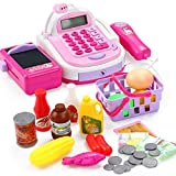DYecHenG Caja Registradora de Juguete Electrónico Mini Simulado Supermercado Cash Register Kits Toys Kids Checkout Counter rol Pretend Play Cajero Chica Juguete para el Cajero Simulado