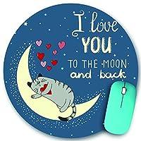KAPANOU ラウンドマウスパッド カスタムマウスパッド、かわいい猫と月とのロマンチックな愛の背景私は月と背中にあなたを愛しています-レタリング、PC ノートパソコン オフィス用 円形 デスクマット 、ズされたゲーミングマウスパッド 滑り止め 耐久性が 200mmx200mm