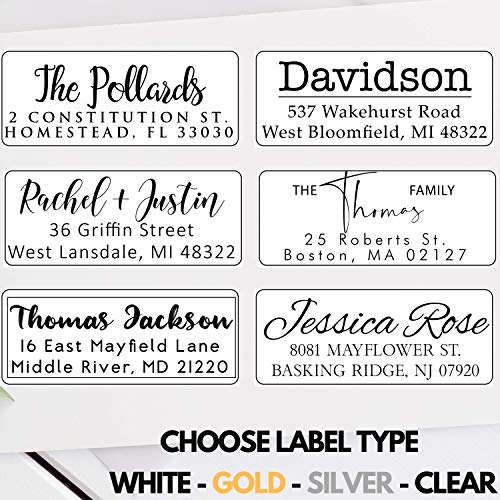 Elegant Simple Address Labels Stickers Clear White Gold Silver 50 100 250 500 Peel and Stick Personalized Return Address Labels Customized Mail Labels Wedding Labels Custom Address Stickers
