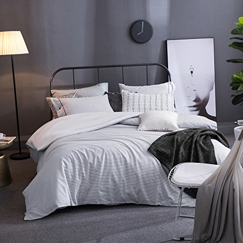 Merryfeel Cotton Duvet Cover Set,100% Cotton Yarn Dyed Woven Striped Duvet Cover and Pillowshams, 3 Pieces Bedding Set - Full/Queen - Grey Blue
