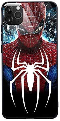 Carcasa de cristal con 2 llamadas LED Flash para iPhone 7 8 Plus Xr 11 Pro Max SE2, Galaxy S10 N10 S20 Plus, Marvel Theme Luxury Tempered Glass Cover Case (Spider Man Front, iPhone 11 Pro)