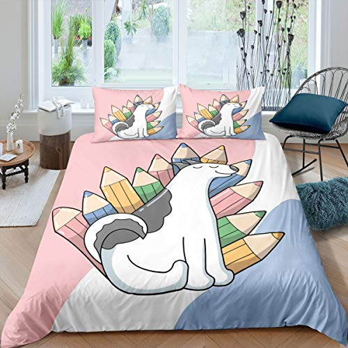 Cute Animal Duvet Cover Cartoon Dog Puppy Bedding Set Kids Lovely Pet Comforter Cover for Boys Girls Children Teens Bedroom Decor Colorful Bedspread Cover Super King With 2 Pillow Case