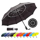 9. HOSA Auto Open Close Compact Portable Lightweight Travel | Night Safety Reflective Strip | Windproof Waterproof UV Protection Umbrella | for Raining Sunny Days Night Time Use (Black 42-inch)