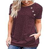 PRJN Blusa de Botones Sueltos de Manga Corta Informal Simple para Mujer Camiseta de túnica con Cuello Redondo de Color sólido Blusa Tops de Jerséis de Mujer Blusa Informal de Color sólido Sudadera