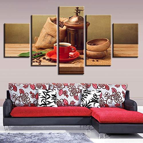 ZSYNB 5 Leinwandbilder Leinwand Malerei Kaffeebohne Leckeres Essen Druckt Wandkunst Wohnkultur 5 Stücke Dekorative Bild für Wohnzimmer