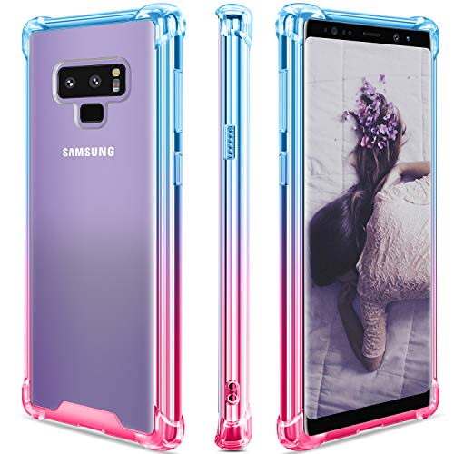 SANKMI Samsung Galaxy Note 9 Case, Clear Note 9 Phone Case Shockproof TPU Bumper Samsung Galaxy Note 9 Cases Non Slip Scratch Resistant PC Hard Back Protective Case Cover for Galaxy Note 9 -Blue Pink